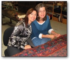 Lisa and her mom in the rug shop